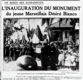 En 1937, une stèle est inaugurée en hommage à Désiré Bianco