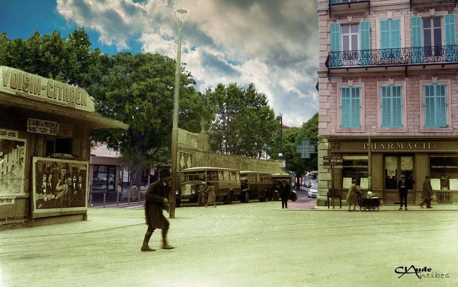 « Je me suis amusé à enlever un pan du mur pour laisser libre le chemin vers la rue de la République », commente le photographe devant son mixage de deux images que trois siècles séparent. Pourtant, des similitudes persistent. Comme l'emplacement de la pharmacie, encore là.
