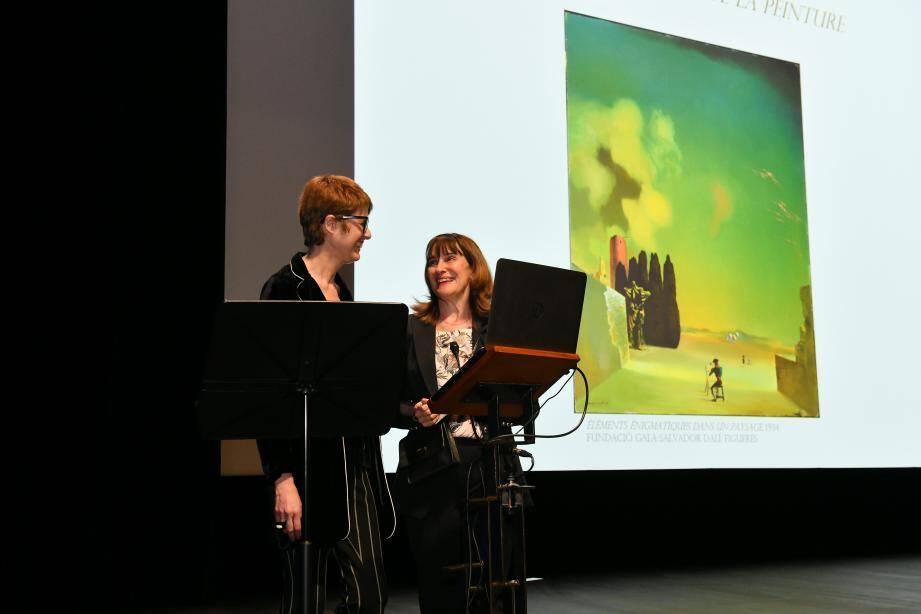 Sylvie Biancheri, à droite, a reçu Montse Alguer, à gauche, directrice des Musées Dali, qui est venue donner une conférence sur l'œuvre de l'artiste, en prélude à l'exposition de l'été au Grimaldi Forum.