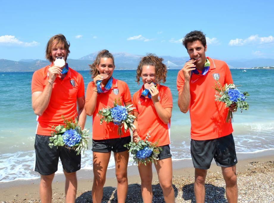 A Patras, Monaco a décroché deux médailles de bronze avec les rameurs Mathias Raymond, Coline Caussin-Battaglia, Clara Stefanelli et Maxime Maillet.