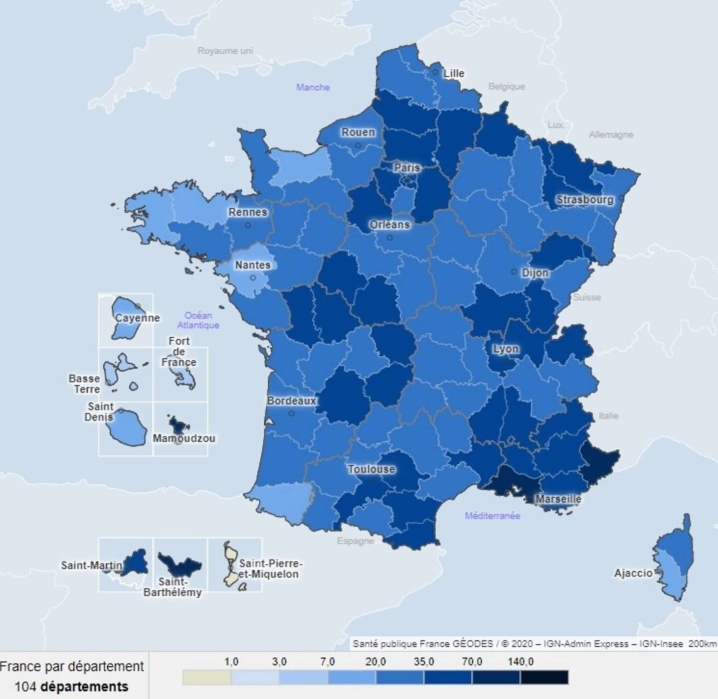 La carte de France de la circulation du virus, par département.