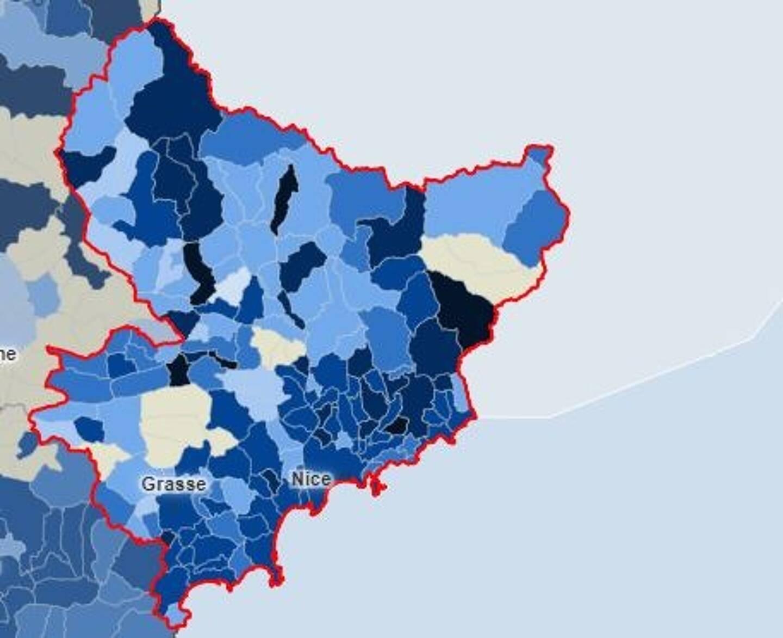 Le taux d'incidence, commune par commune, dans les Alpes-Maritimes, sur la semaine glissante du 26 décembre au 1er janvier.