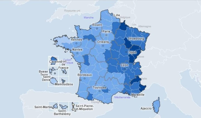 Le taux d'incidence par département, sur la semaine glissante du 26 décembre au 1er janvier.