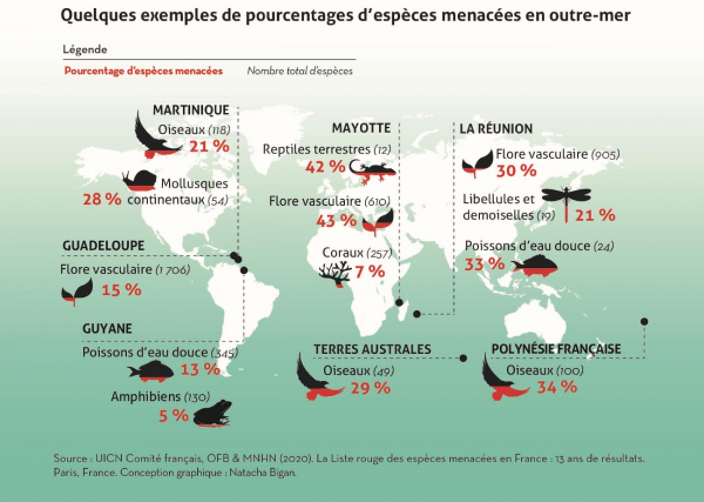 Pourcentages d'espèces menacées en outre-mer.