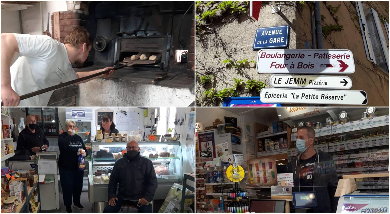 """L'épicerie du village, le boulanger Florent Jaspard, l'affichage des commerces du village et Pascal Courty du tabac """"Le Sud""""."""