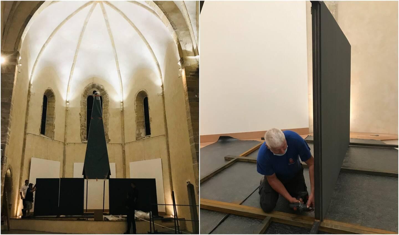 La flèche a été installée, lundi matin, par les services techniques à la chapelle de l'Observance. Dans les prochains jours, le buste de Valbelle, œuvre de marbre signée Houdon, prendra place aux côtés des autres statues.