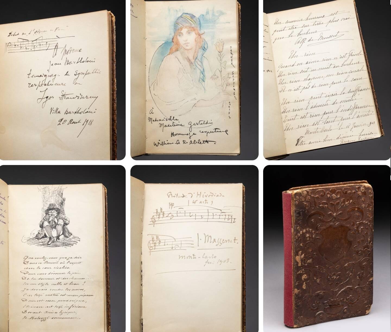 Les pages renferment les dédicaces des princes Albert-Ier et Louis II mais aussi des partitions musicales manuscrites des compositeurs Igor Stravinsky et Jules Massenet.
