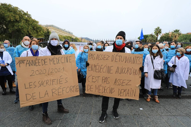 En décembre 2020, les étudiants en médecine avaient manifesté à Nice.