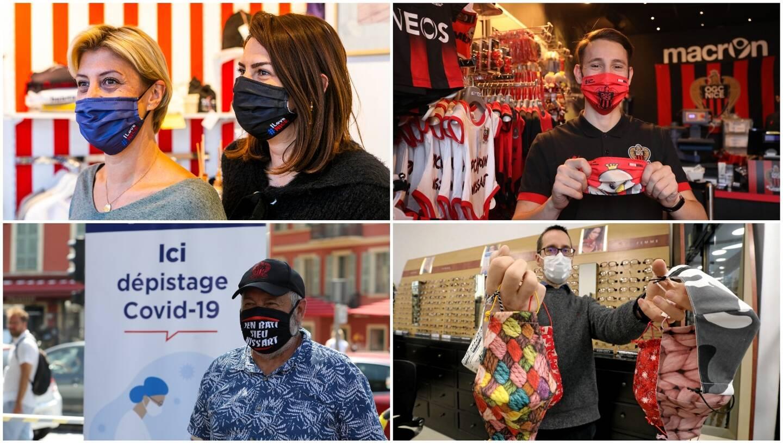 Qu'ils soient estampillés aux couleurs de l'OGC Nice, qu'ils déclarent la flamme à Nice ou qu'ils donnent un coup de pied au virus, les masques nissarts ne manquent pas d'originalité