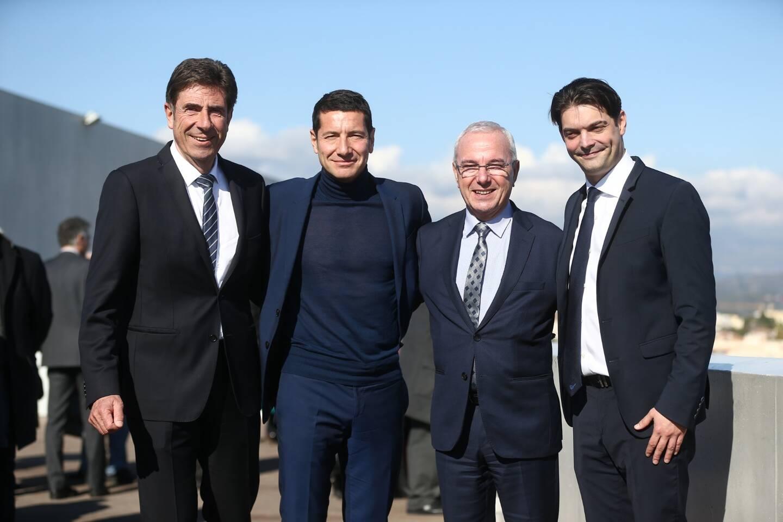 Charles-Ange Ginesy, David Lisnard, Jean Leonetti, et Jérome Viaud lors du lancement du Pôle métropolitain Antibes-Cannes-Grasse le 8 février 2018 (illustration).