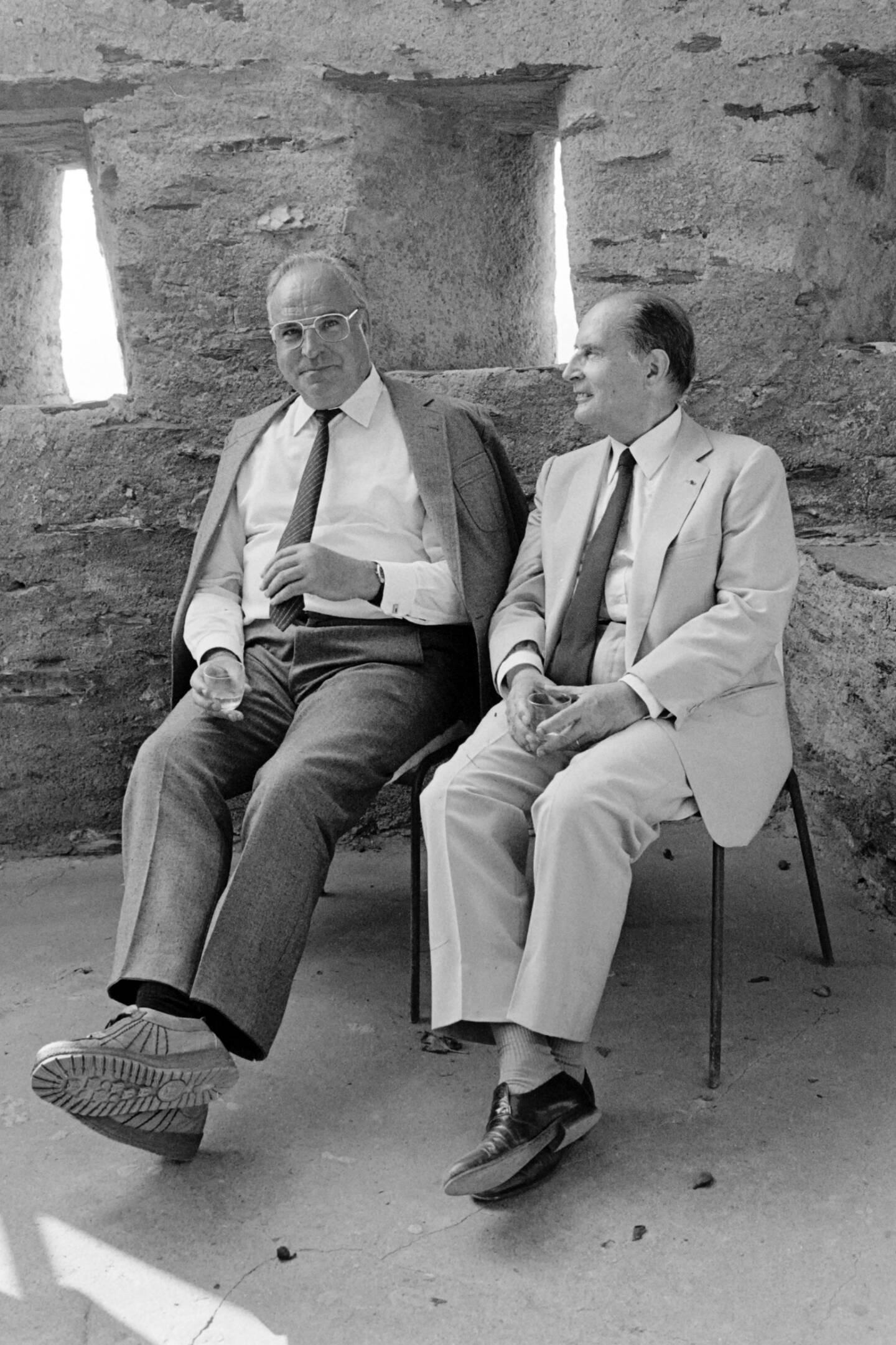 François Mitterrand à Brégançon (Var) avec Helmut Kohl