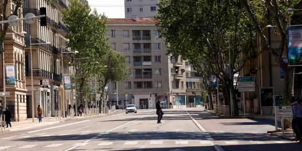 Le boulevard de Strasbourg, dans le centre-ville de Toulon, lors du premier confinement en avril 2020.