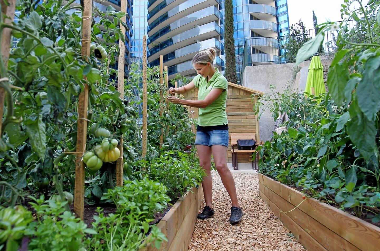 Jessica Sbaraglia, fondatrice de Terre de Monaco, s'est fixée comme mission d'instituer l'agriculture urbaine écologique sur les toits et les alentours des bâtiments de la Principauté de Monaco. Ici dans les jardins de la tour Odéon à Monaco.