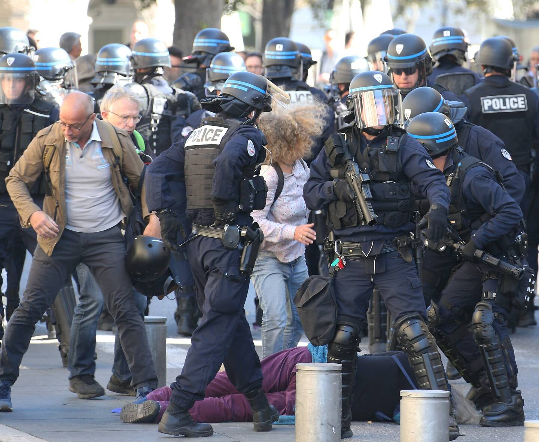 Lors de la manifestation où Geneviève Legay a été blessée, le 23 mars 2019, à Nice.