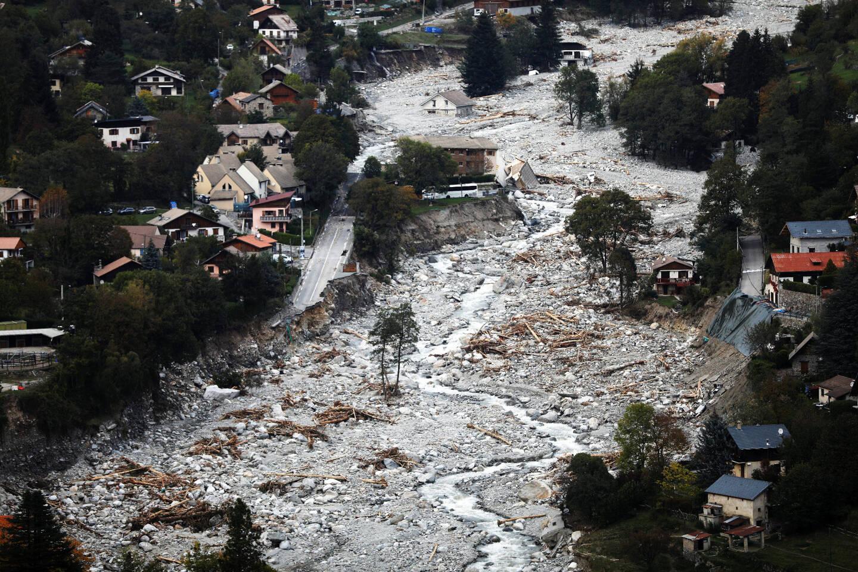 Vues aériennes des dégâts sur la commune de saint-martin-Vésubie provoqués par la crue de la vésubie lors de la tempête Alex en octobre dernier.
