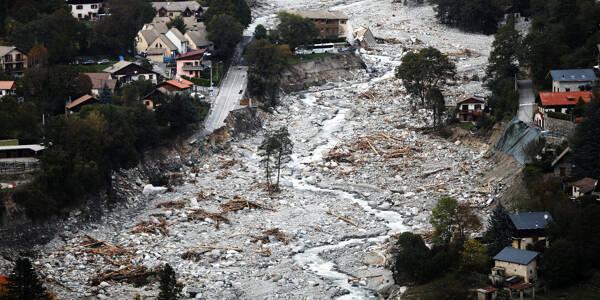 Vues aériennes des dégâts sur la commune de Saint-Martin-Vésubie provoqués par la tempête Alex en octobre dernier.