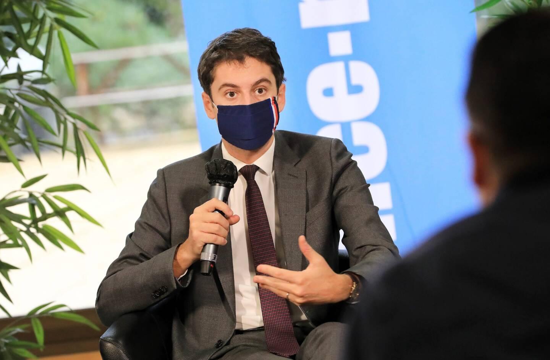 Gabriel Attal, porte-parole du gouvernement, dans les locaux de Nice-Matin.
