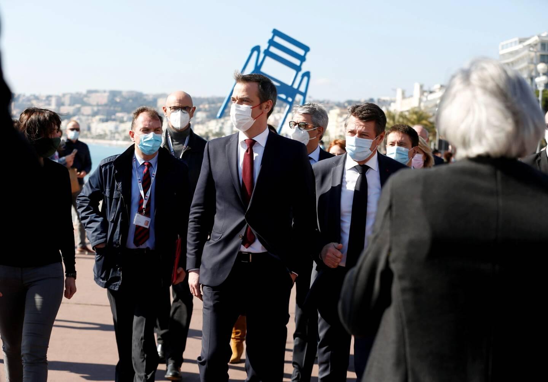 Le ministre de la Santé, Olivier Véran et le maire de Nice, Christian Estrosi.