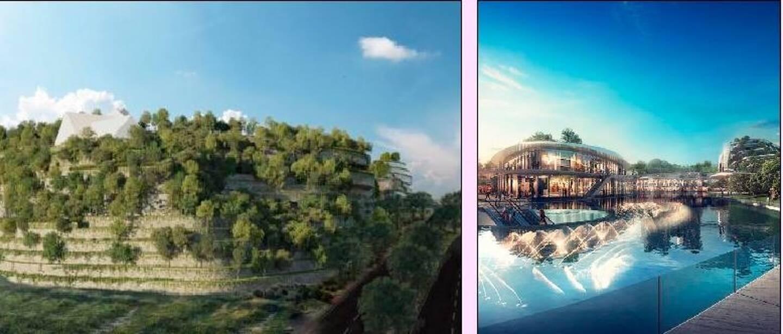A gauche, une partie du nouveau visage d'Open Sky qui accueillera aussi un campus, une résidence étudiante, des espaces muséaux... dans un environnement plus vert qu'à l'origine. A droite, vue de l'ancien projet.