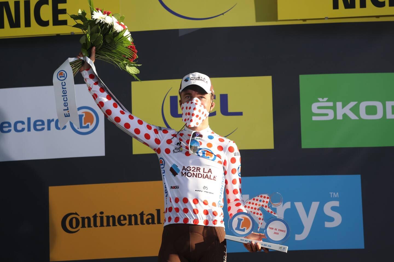 Benoît Cosnefroy, ici avec son maillot de meilleur grimpeur sur le dernier Tour de France, devrait mener l'équipe AG2R-Citroën.