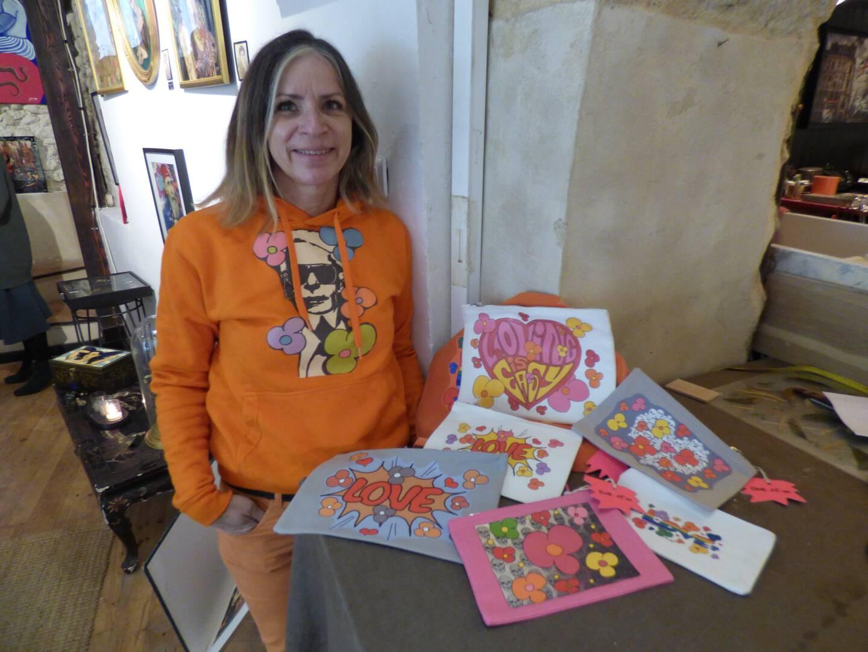 Le pop art sur tissus de Sandra Haller alias Sandy H. (Photo L.Q.)