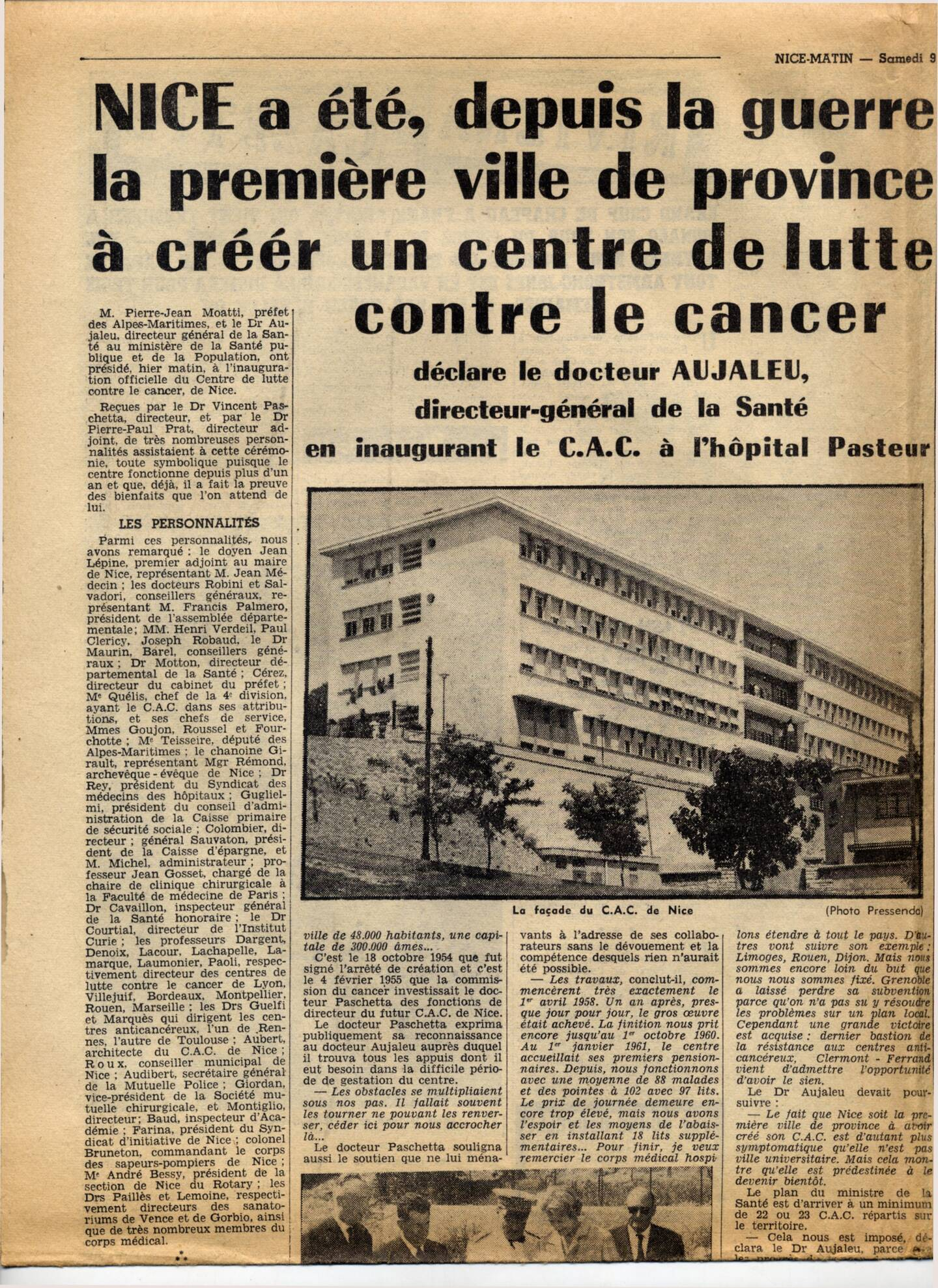La Une de Nice-Matin au lendemain de l'inauguration du Centre de lutte contre le cancer en juin 1962.