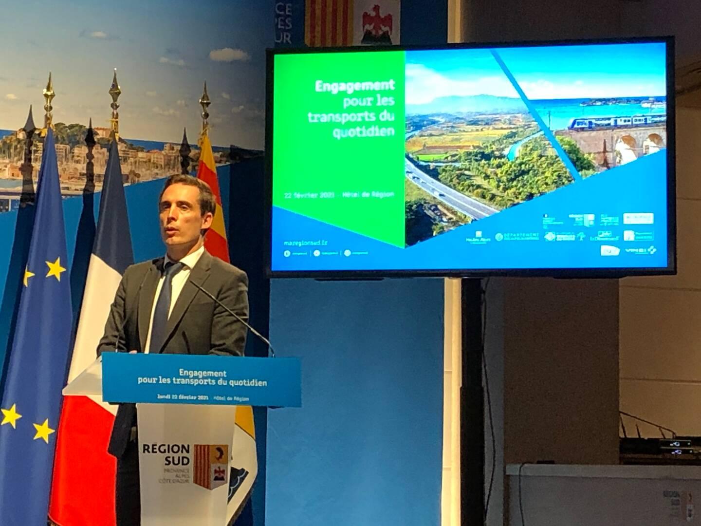 Jean-Baptiste Djebbari, ministre délégué chargé des transports hier à l'hôtel de Région à Marseille (Ph. PLP)
