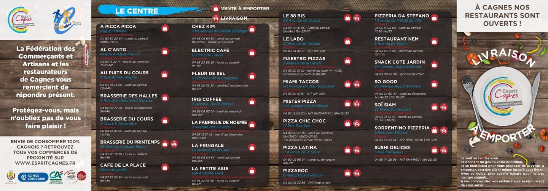 Les restaurants de la ville s'invitent dans la boîte aux lettres de tous les foyers cagnois, pour les inviter à profiter de leurs petits plats et de leurs services.