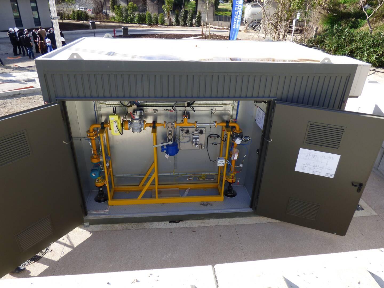 Près de la station d'épuration, ce poste GRDF donne une odeur au biométhane, régule sa pression, le compte, et l'injecte dans le réseau.
