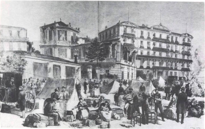 Campements organisés dans les villes de la Côte lors du tremblement de terre de 1887.