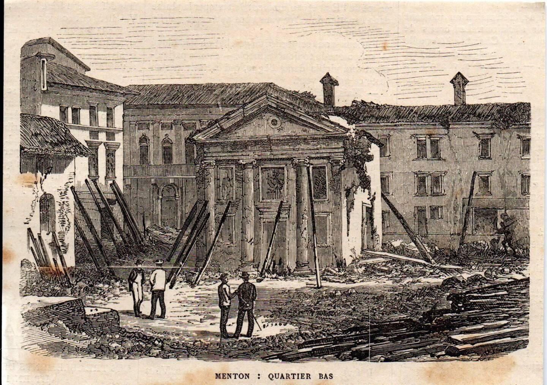 Vue ancienne de Menton après le séisme.