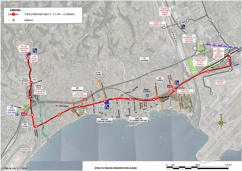 """""""Les visuels présentés sont des intentions d'aménagement du projet de la ligne 4 de tramway. Les documents présentés ne sont pas figés pour les études futures et sont susceptibles d'évoluer"""", signale la Métropole."""