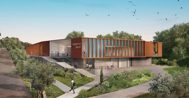 Ci-dessus, la prochaine salle de tennis de table de l'Olympique d'Antibes, prochainement construite sur le site de Gilbert-Auvergne. À droite, la salle actuelle du côté des Châtaigniers.