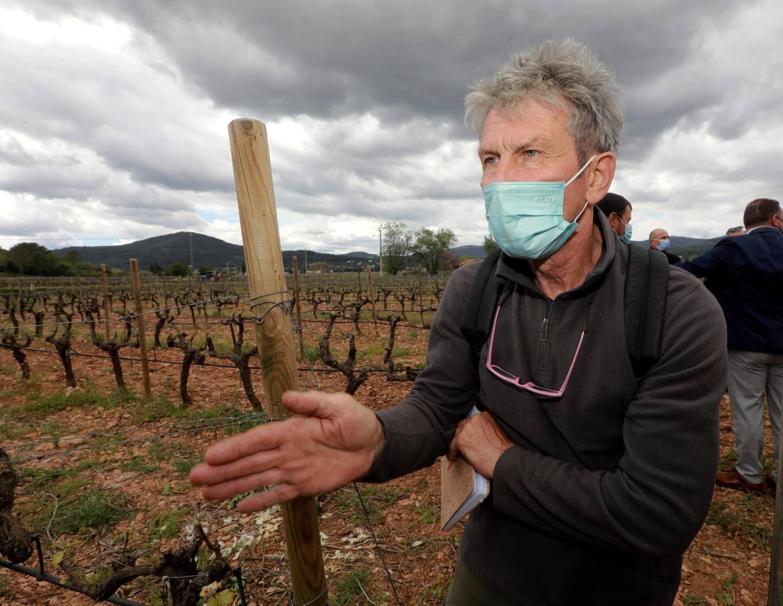 """Après avoir fait le tour de ses parcelles, Jacques Rapée, du Domaine des Fouques, estime avoir perdu 40% de sa récolte. """"J'ai pris une claque, je pleure"""", dit ce vigneron engagé dans l'agriculture biologique. Néanmoins, """"il faut réfléchir sur le long terme, protéger au-delà de l'économie, de l'urgence, adapter nos pratiques au climat. Notre problématique c'est de nourrir les habitants de la planète""""."""