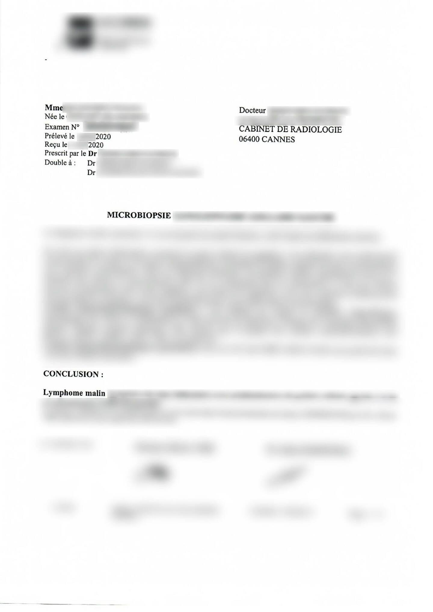 Un document lui aussi été mal protégé par le forum de la Ligue contre le cancer: un rapport médical émanant d'un cabinet de radiologie cannois,. Il était en libre accès sur le Net.