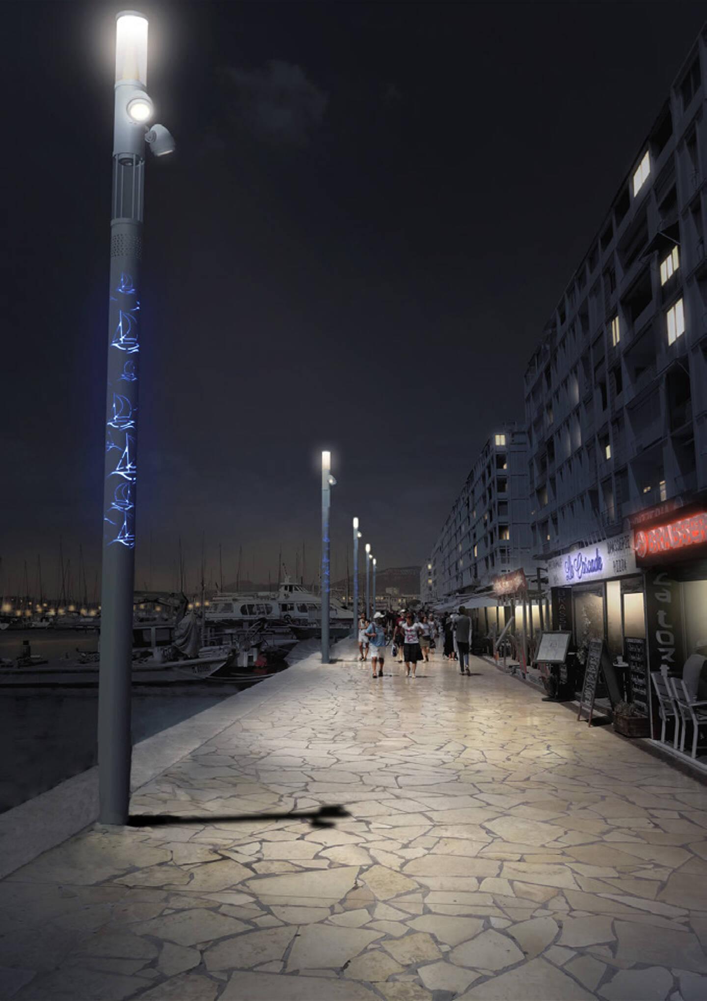 """Des motifs """"maritimes"""" seront sculptés sur les nouveaux lampadaires. Ils s'illumineront la nuit en bleu, ou dans n'importe quelle autre couleur selon les occasions."""