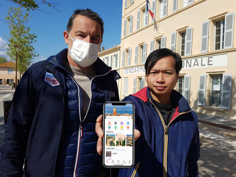 Pascal Bonnet, président d'Esprit village et Thanh Phan, concepteur de cette application mobile et co-gérant de la boutique.