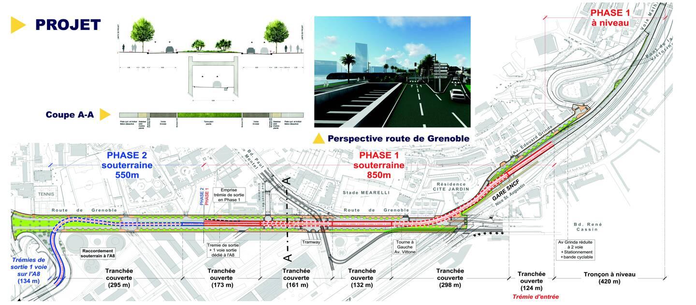 Le tracé avec ses trois trémies souterraines entre la sortie de la voie Mathis et l'entrée de l'autoroute.