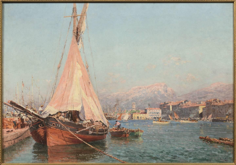 Tartane rouge le matin, François Nardi. Huile sur toile 62 x 80cm Musée d'Art de Toulon.