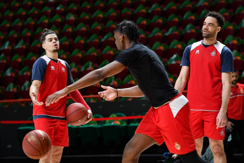 Gray, Yeguete et O'Brien, hier soir lors de l'entraînement au Basket Hall Kazan.