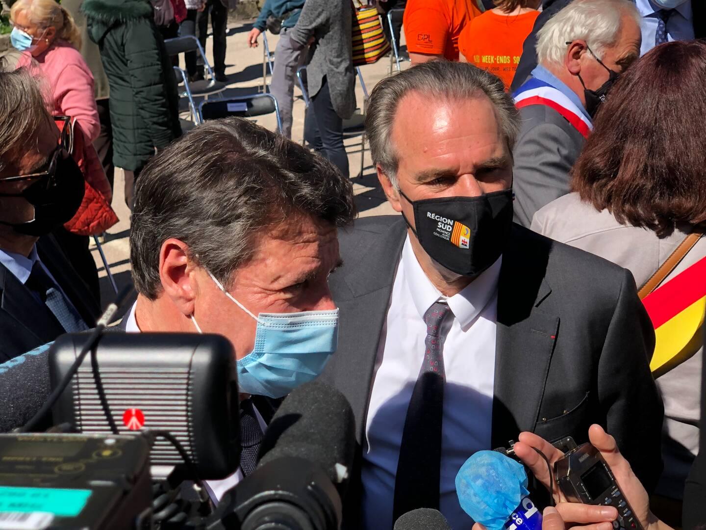 A Tende, Renaud Muselier finit par se lâcher à la tribune et face aux journalistes. Christian Estrosi élude et insiste: ce n'est pas le sujet du jour.