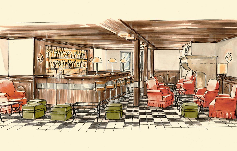 L'esquisse du futur bar de l'hôtel: St-Germain La Ponche en hommage à Boris Vian.