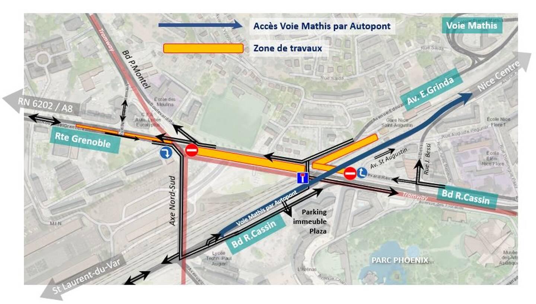 La zone de travaux et les restrictions de circulation. (Infographie Métropole Nice Côte d'Azur)