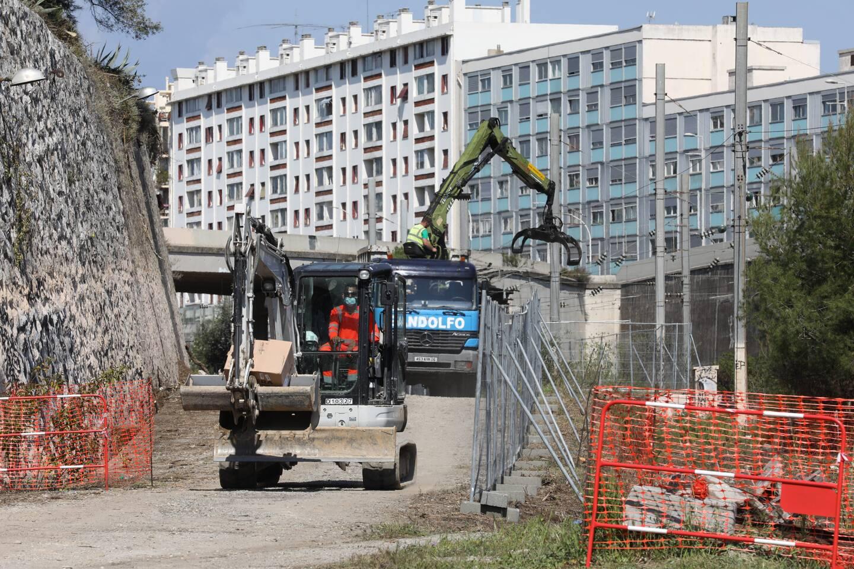 Les travaux de la sortie ouest de la voie Mathis Saint Augustin ont débuté. (Photo Eric Ottino)