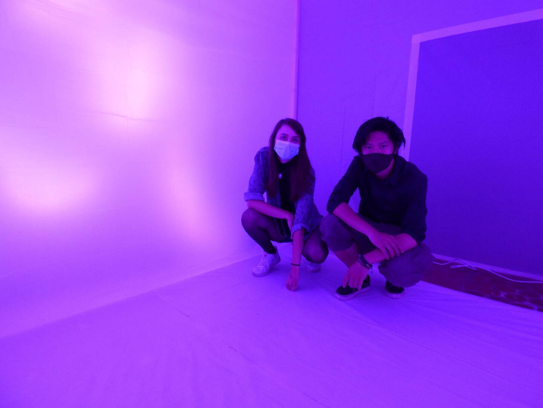 Une expérience sensorielle inhabituelle avec Samuel Nguyen et Sofia Zafiridou. (Photo L.Q.)