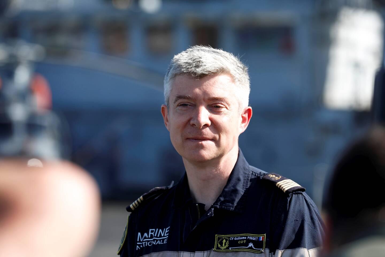 Le capitaine de vaisseau Guillaume Pinget, commandant du Charles-de-Gaulle, à son retour à Toulon hier matin.