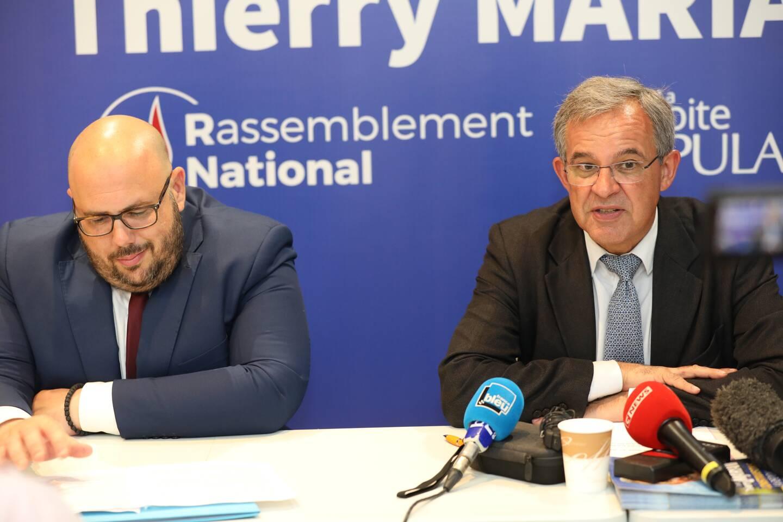 Philippe Vardon et Thierry Mariani en conférence de presse ce lundi à Nice.
