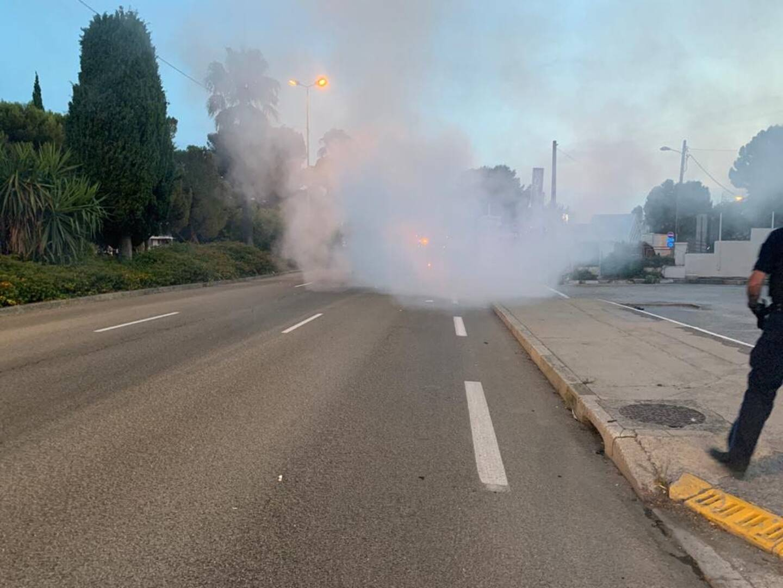 Le feu s'est déclaré sur la RN 98 à Saint-Laurent-du-Var.