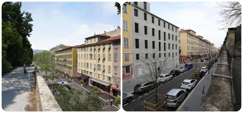 """À gauche, le futur appart-hôtel du """"Palais Ségurane"""". À droite, aujourd'hui."""
