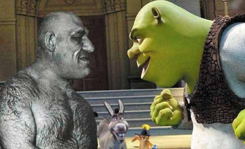 Maurice Tillet et le personnage du dessin animé Shrek